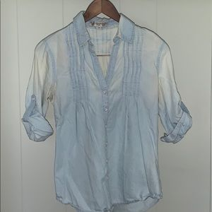 Distressed pleated button up!!